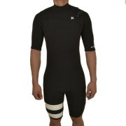 Hurley Fusion 2/2 S/S black Chest Zip Shorty Neoprenanzug